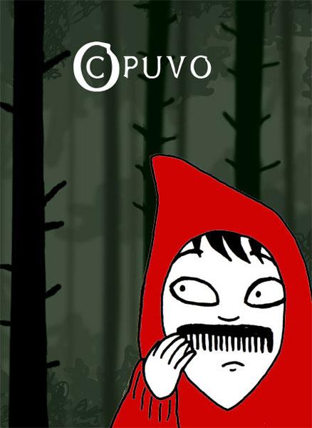 Rotkäppchen in perfekter Tarnung auf der Flucht vor dem Wolf, Illustration von puvo (puvo-productions)
