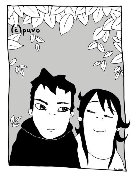 Junge und Mädchen sind im Frühling mal wieder im Park, Illustration von puvo / puvo productions