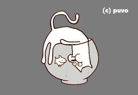 Katze und Goldfisch begegnen sich im Wasser, Illustration von puvo productions