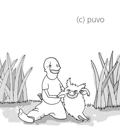 John Locke mit Wildschwein und Orangengrinsen, mein persönlicher erster Creepy-Moment bei LOST, Illustration von puvo