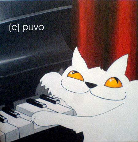 Katze spielt Klavier. Acrylmalerei von puvo productions