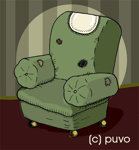 Hommage zum Tag des Sessels an die charismatischsten aller Sitzgelegenheiten. Illustration von puvo productions