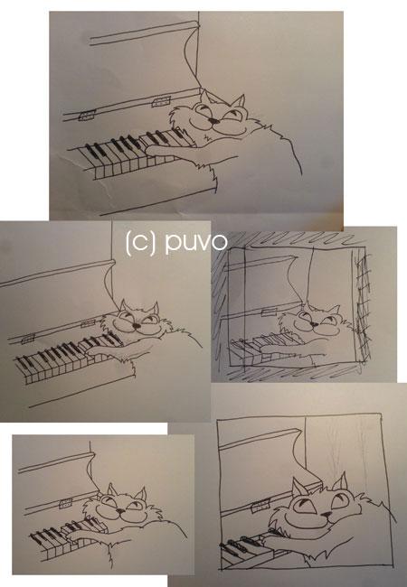"""Vorskizzen zu """"Pianokatze"""" von puvo productions"""