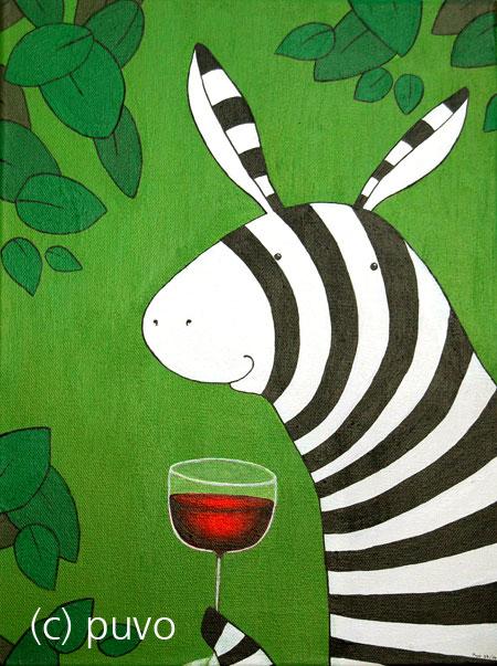 Zebra trinkt nur wegen des schönen Farbkontrasts Rotwein... Acryl auf Leinwand von puvo productions