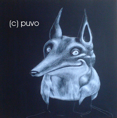 Monochrome Fuchs, Acryl auf Leinwand von puvo productions