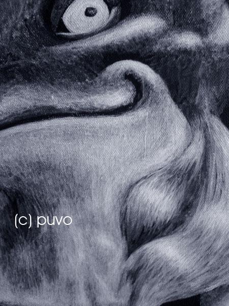 Monochrom Fuchs, Acryl auf Leinwand von puvo productions