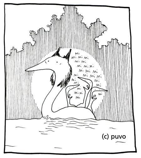 Haubentaucher mit Kindern, Illustration von puvo productions