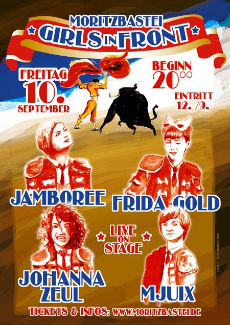 """Plakat für das Festival """"Girls in Front"""" 2010 in der Moritzbastei Leipzig, Design von puvo productions"""