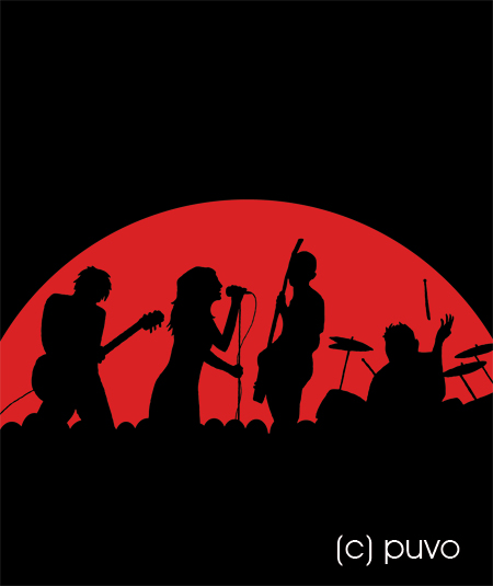 Liveband - Silhouetten. Illustration von puvo productions