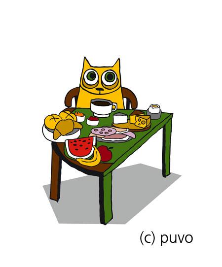 Katze am Frühstückstisch - Illustration von puvo productions