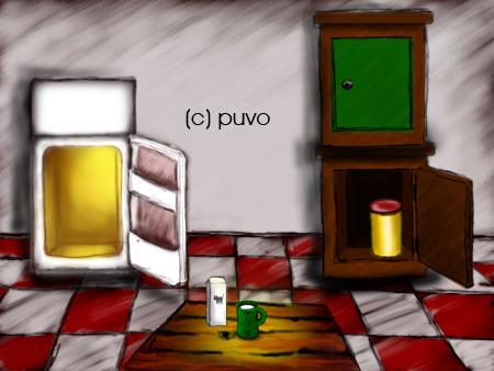 Küche - Illustration im Stil von Grafik-Adventures von puvo productions