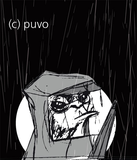 Affe im Regen - Illustration im Comic-Stil von puvo productions