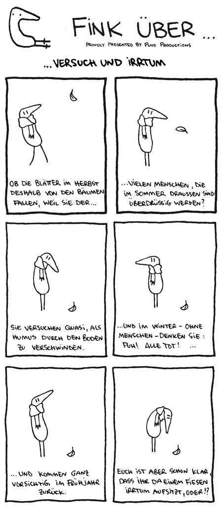 Fink siniert im Herbst über Versuch und Irrtum... Comic von puvo productions