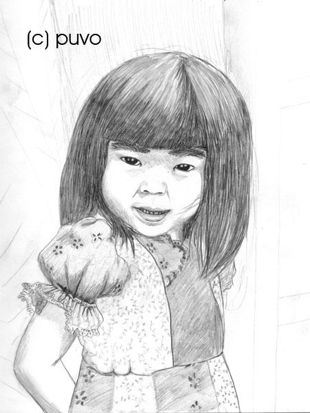 Portraitzeichnung eines Mädchen von puvo productions