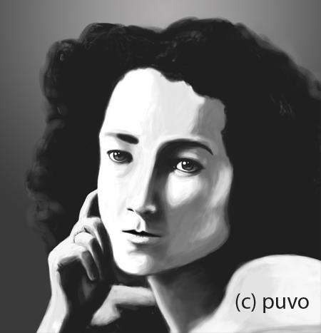 Schwarzweiß-Portrait einer Frau, digital painting von puvo productions