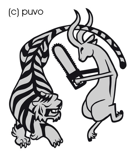 Tiger vs. Antilope - Shirt- und Tattoomotiv von puvo productions