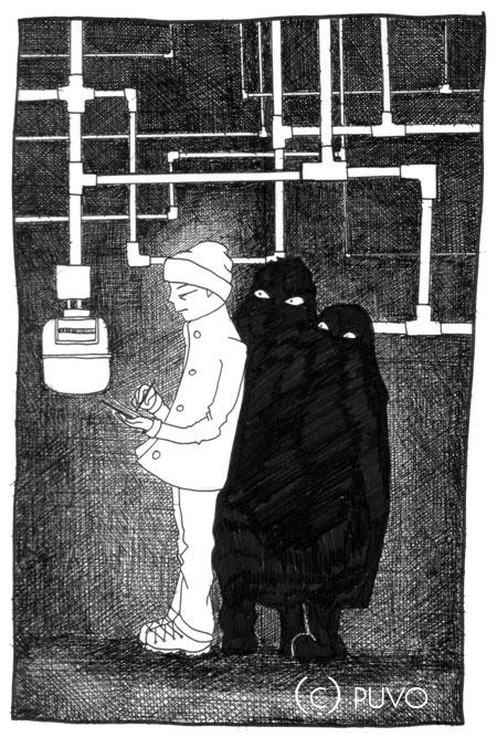 Gas- und Stromzähler ablesen in Gera... Illustration von puvo productions