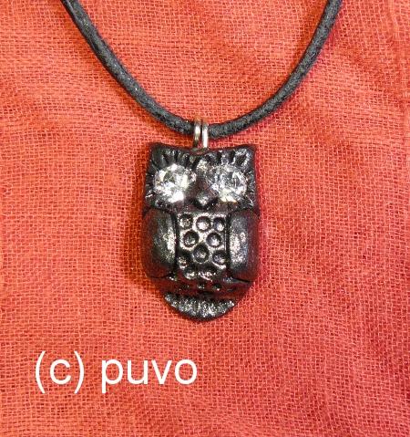 Eule als Anhänger aus Fimo, design by von puvo productions