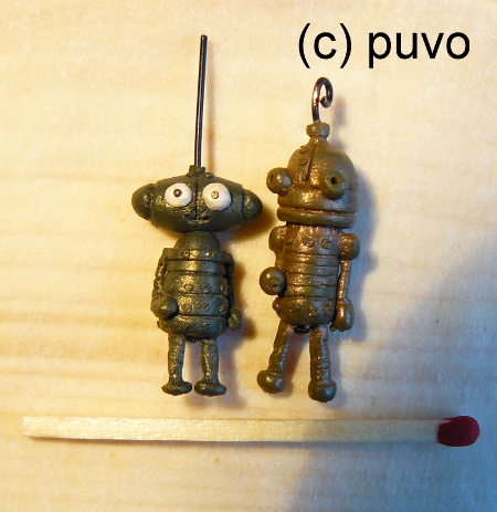 Josef & seine Freundin (machinarium) als Fimo-Miniaturen von puvo productions