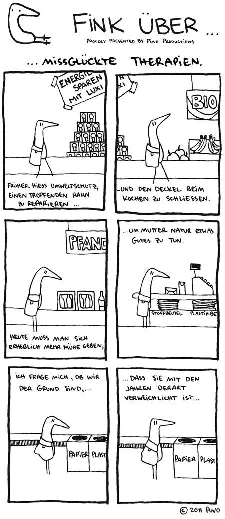 Fink siniert über Umweltschutz und Psychologie. Comic von puvo productions