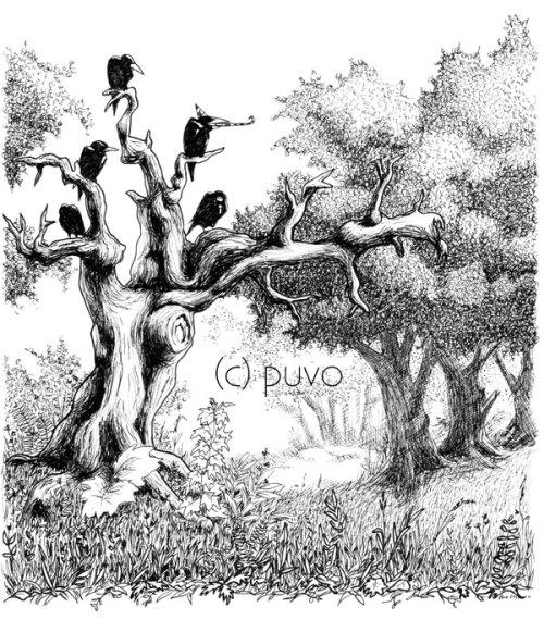 Raben auf knorrigem Baum, Illustration von puvo productions