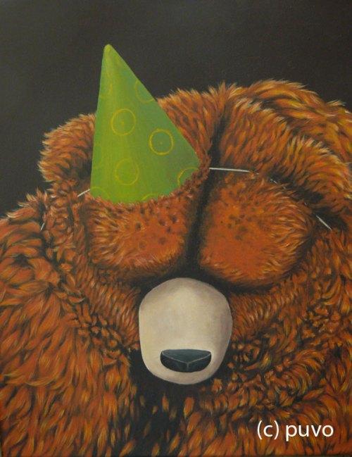Der Bär hat Geburtstag - Acryl auf Leinwand von puvo productions