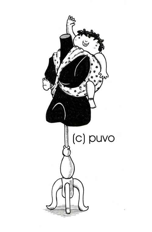 Schneiderpuppe & Baby, Illustration von puvo productions