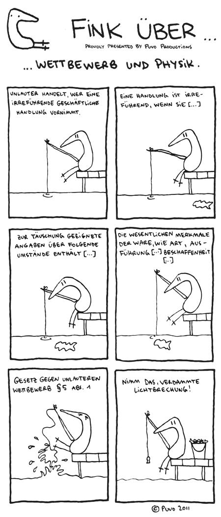 Fink über Wettbewerb und Physik. Comicstrip von puvo productions