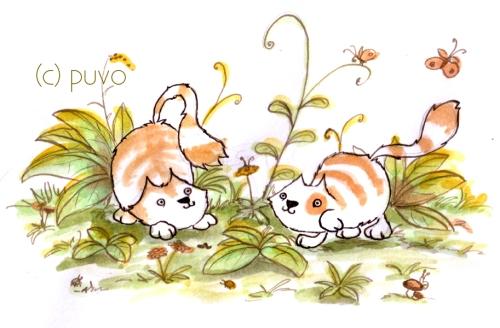 Katzenkinder im Garten, Illustration von puvo productions