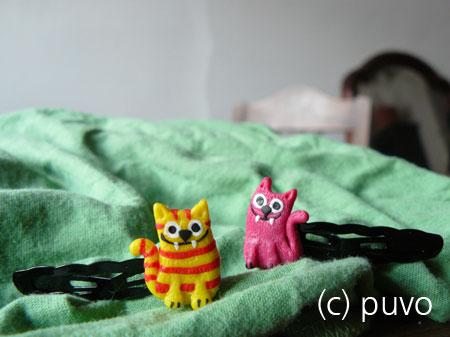 Katzen-Haarspangen aus Fimo von puvo productions.