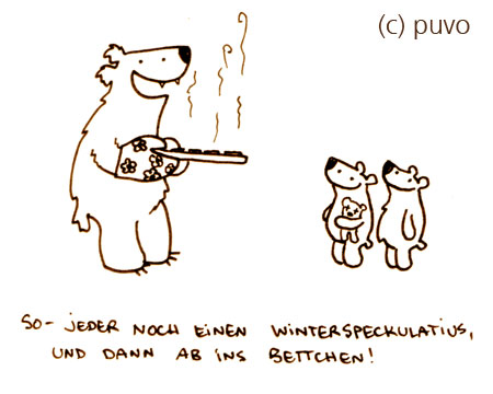 Winterspeckulatius. Cartoon von puvo productions