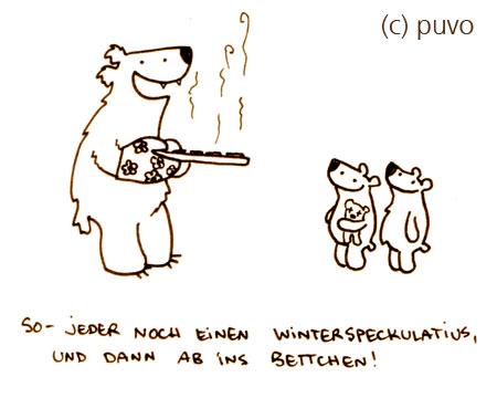 Winterspeckulatius. Cartoon von puvo productions