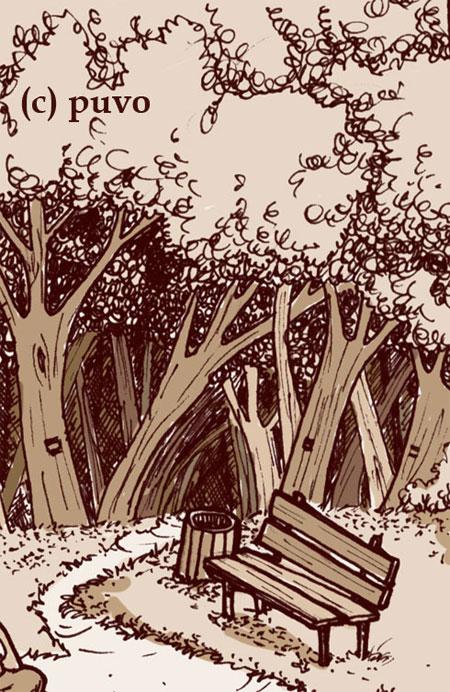 Waldrand. Ausschnitt einer Illustration von puvo productions