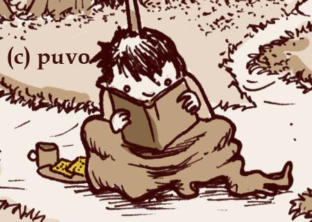 Lesen mit Keks & Kakao. Ausschnitt einer Illustration von puvo productions