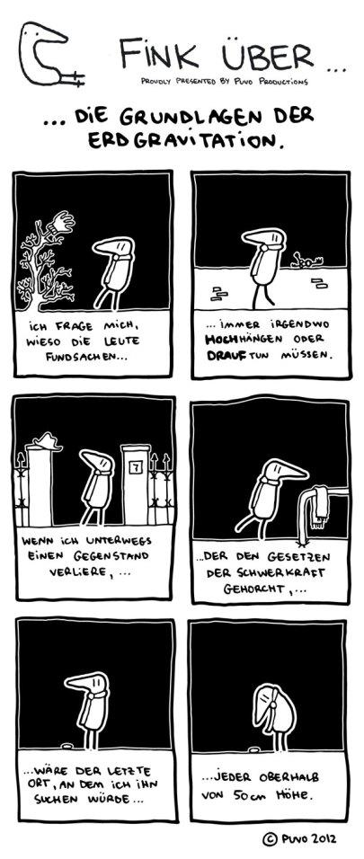 Fink über die Grundlagen der Evolution. Comicstrip von puvo productions.