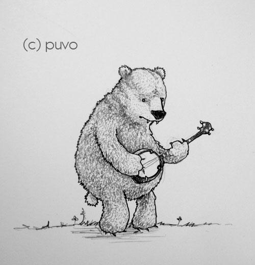 Banjobär. Illustration von puvo productions