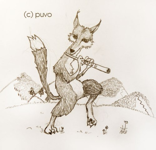 Fuchs mit Flöte. Illustration von puvo productions.