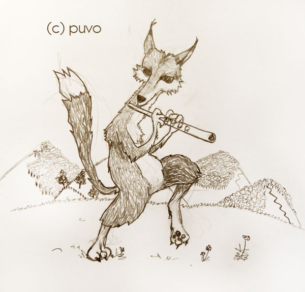 Fuchs mit Flöte. Illustration von puvo productions.