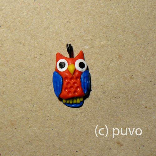 Eule aus Fimo von puvo productions.