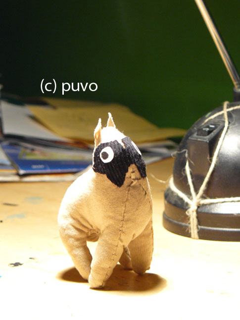 Prototyp eines Boxers aus Stoff. Design von puvo productions.