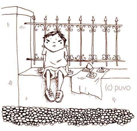 Steinverkäufer - Illustration nach einer Straßenszene von puvo productions