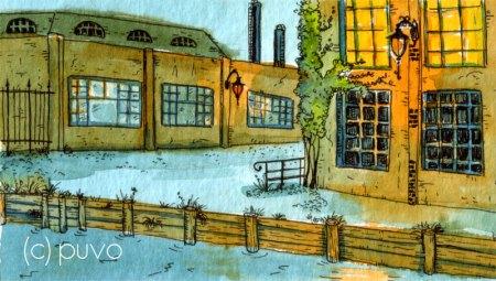 Fabrikgelände. Tuschestudie von puvo productions