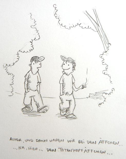 Totenkopfäffchen. Tagesskizze von puvo productions.