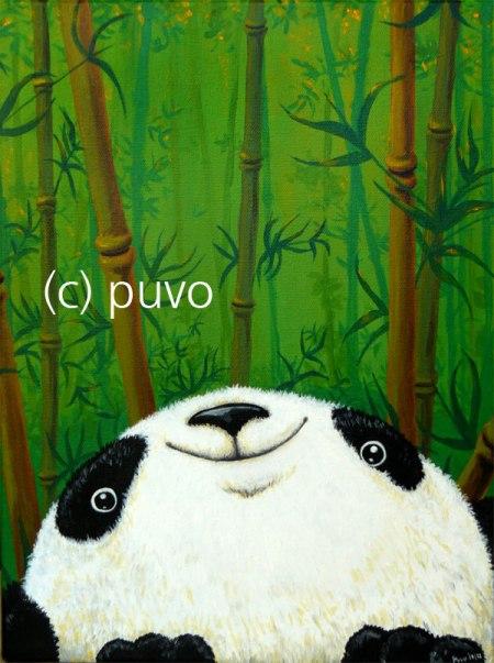 Pandabär Acryl auf Leinwand / von puvo productions