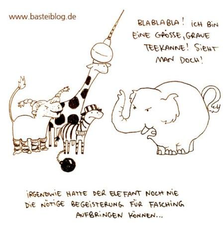 Der Elefant mag keinen Fasching. Cartoon von puvo productions für´s Basteiblog.