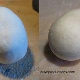 Das Ei im Detail - hier sieht man schön den nächsten Wichtigen Schritt: Schleifen! (vorher - links / nachher - rechts). Ich habe etwas groberes Schleifpapier genommen, da ich die Oberfläche etwas angerauht erhalten wollte.