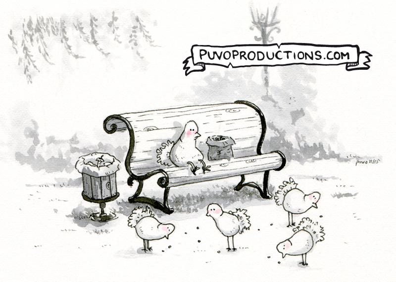 Taubenfüttern.