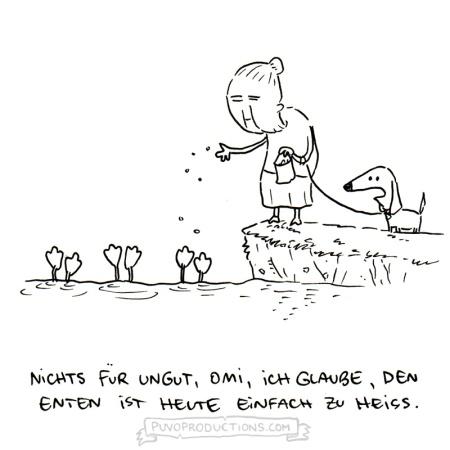 Den Enten im Park ist es eindeutig zu heiß - da wird Omi heute nicht füttern können. Cartoon von Josephine Mark / puvo productions.