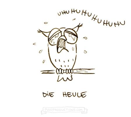 """Was macht """"Uhuhuhu"""" und sitzt auf dem Baum? Eine Heule - Cartoon von puvo productions / Josephine Mark"""