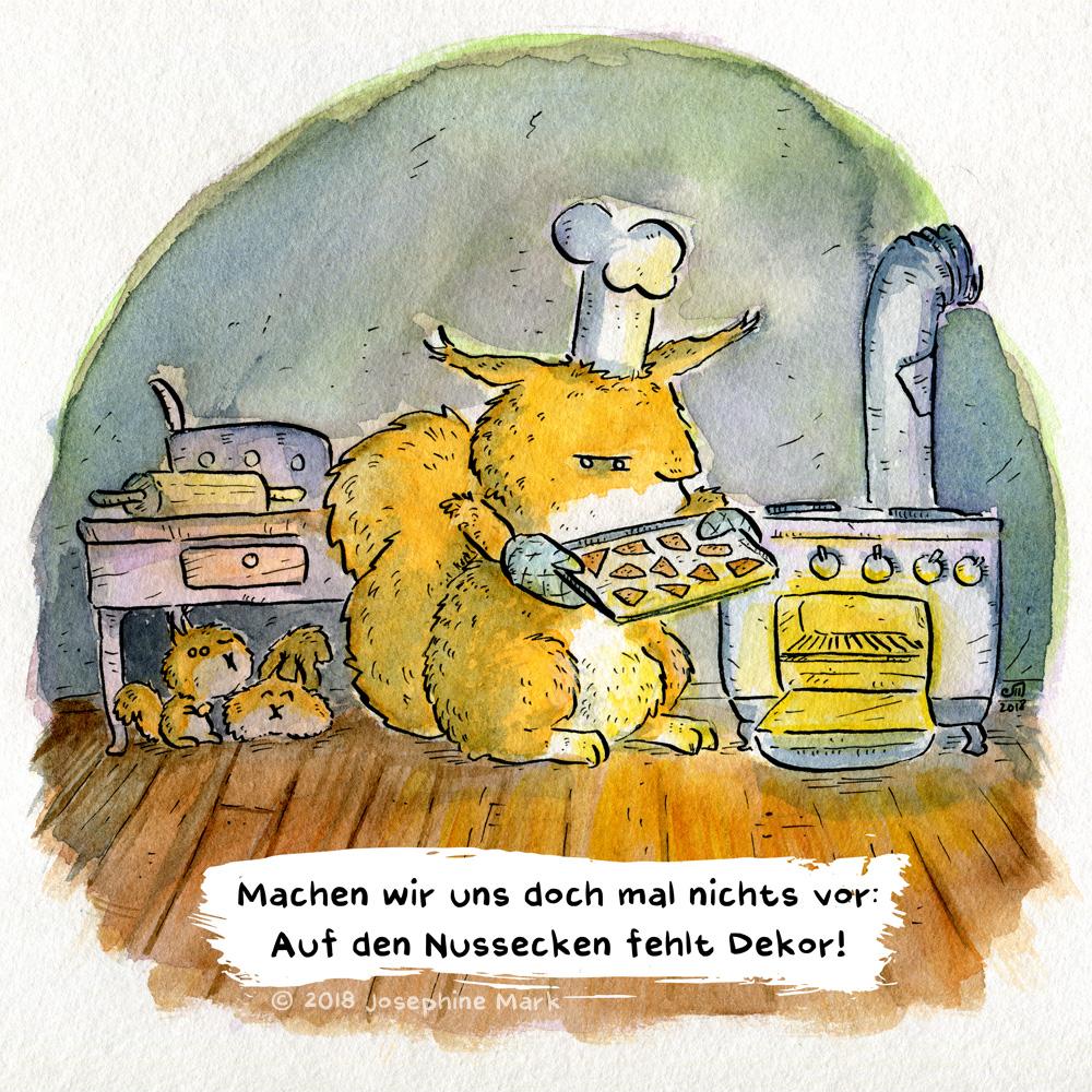 Das Eichhörnchen backt Nussecken... doch es fehlt Dekor! Aquarellillustration von Josephine Mark / puvo productions.